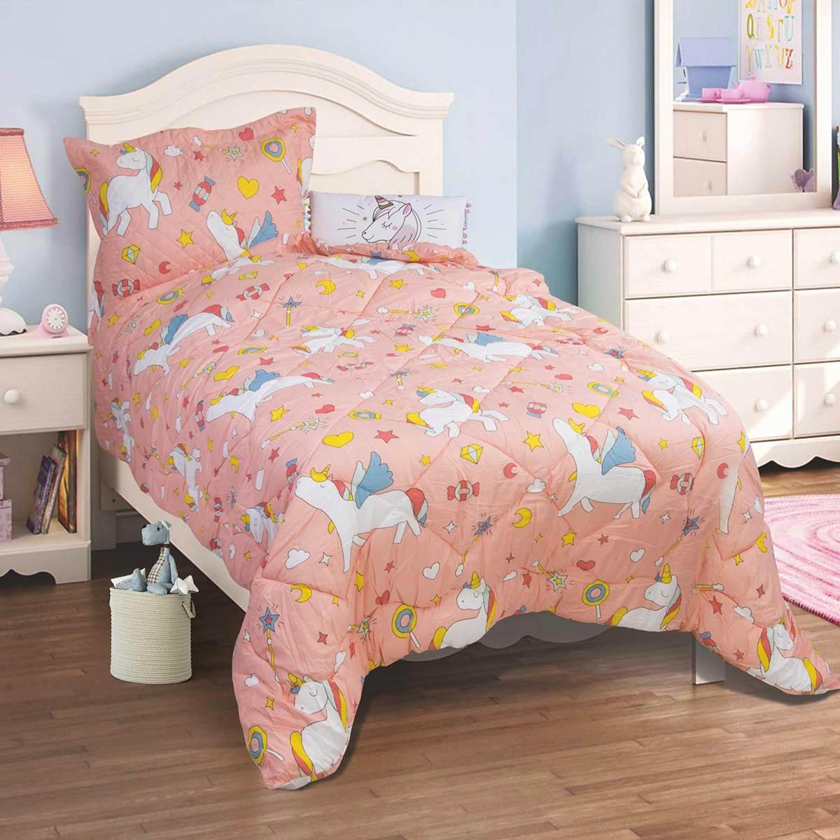 ΠΑΙΔΙΚΑ  Πάπλωμα Σετ Παιδικό Μονό (160x220cm) Flamingo Unicorn 826fd2c5488